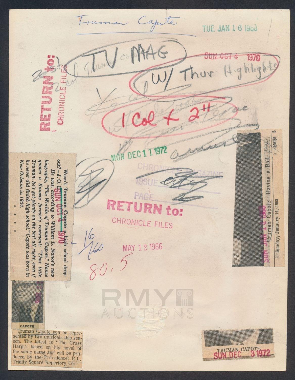 Lot # 1148: 1966 Truman Capote, \